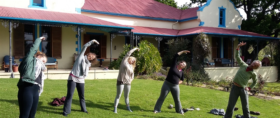 Yoga on the lawn at Fynbos Estate, Malmesbury