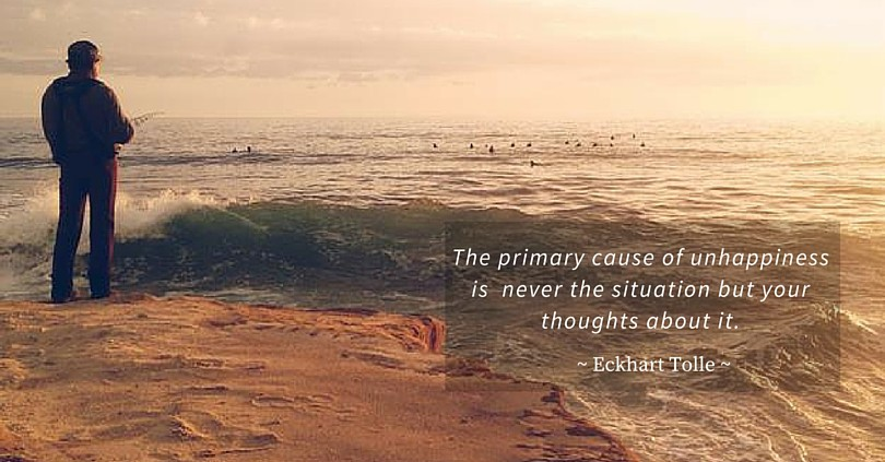 The primary cause of unhappiness is never the situation but your thoughts about it. Eckhart Tolle quote